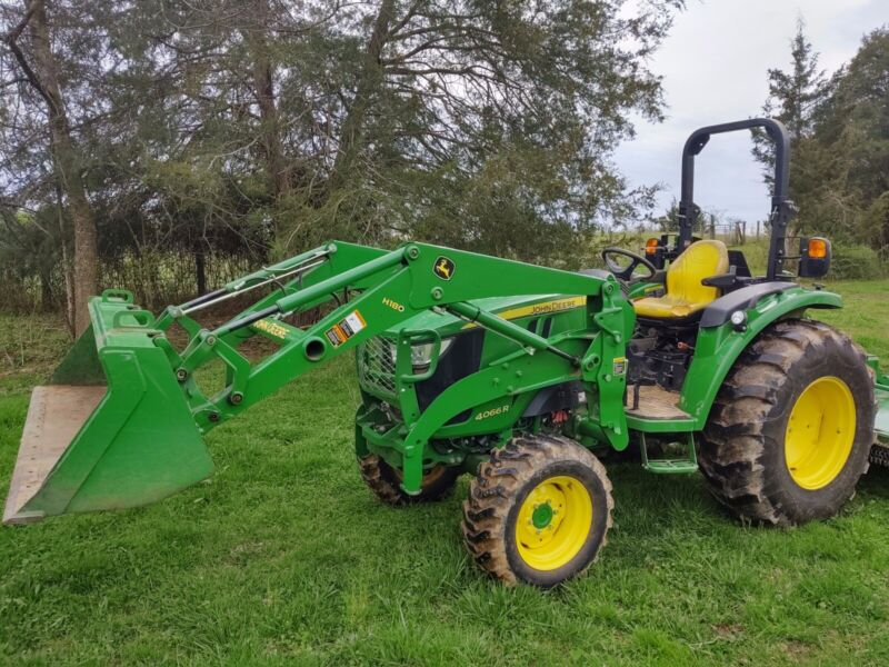 John Deere 4066r 66hp compact utility tractor w/ front loader and rotary cutter