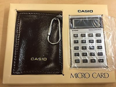 Casio Micro Card Watch M-811 Calculator w/ Leather Case Japan Mini Computer VTG