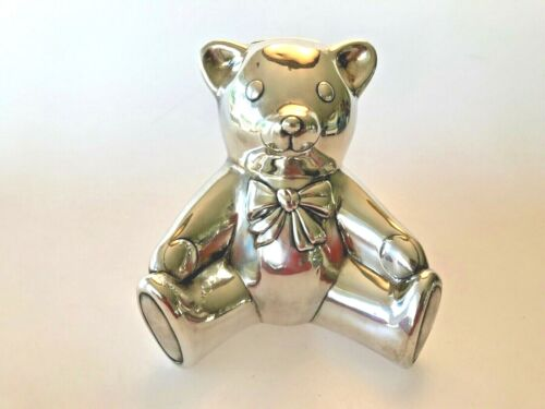 Tiffany & Co. Sterling Silver Teddy Bear Piggy Bank in Tiffany Pouch and Box