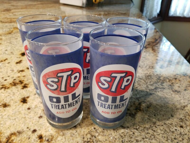 Set of 5 Vintage STP Oil Treatment Drinking Glasses