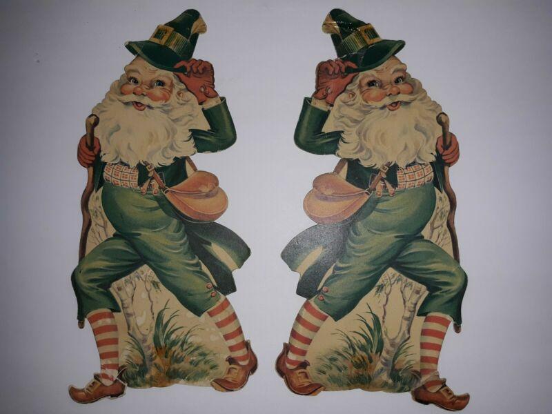 2 Vintage St Patricks Day Die Cut Decoration Irish Dancers
