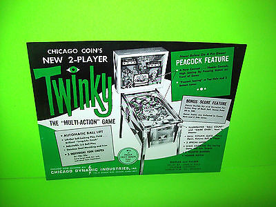 Chicago Coin TWINKY Original 1967 Flipper Game Pinball Machine Promo Sales Flyer