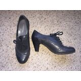 EUROSTEP women's OXFORD LACE UP LEATHER BLACK SHOES HEEL SIZE 8M  GABRIELLE