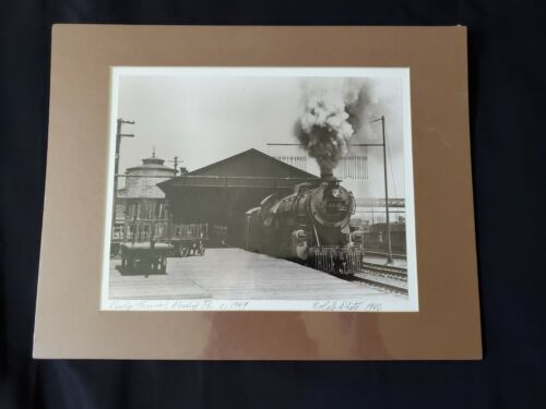 Matted Photo Reading Terminal Steam Engine Reading PA 1949 Train Railroad