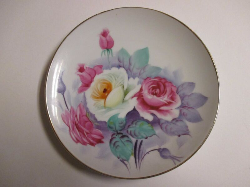 "Handpainted Floral Collector Display Plate 8"" Pink Roses, Japan"