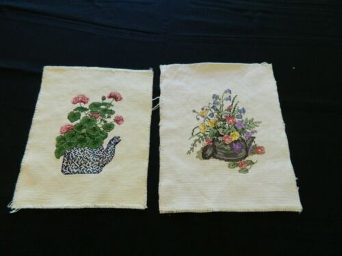 L-21 PAIR OF COMPLETED TEA POT WITH FLOWERS COUNTED CROSS STITCH PICTURES