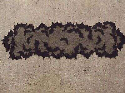 Lace Table Runner Halloween Black Going Batty 44 x 13.