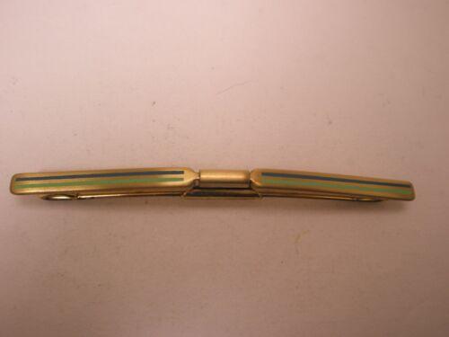 -Blue & Green Striped Gold Tone Vintage Collar Bar L50