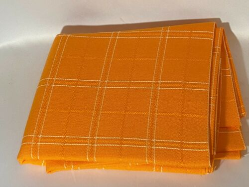 Vintage ORANGE PLAID THICK LINEN FABRIC 5 Yards~Craft*Quilt*Upholstery