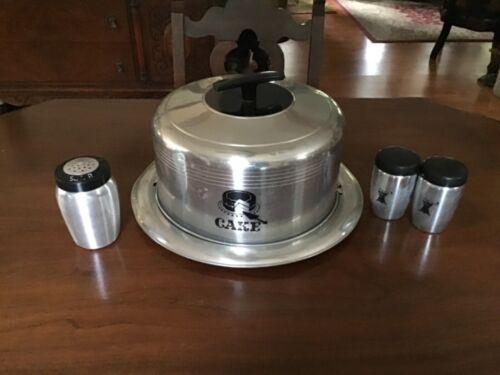 VINTAGE WEST BEND ALUMINUM CAKE SAVER/CARRIER w/ Salt&Pepper,Sugar