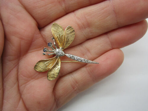PRECIOUS Vintage Solid 14k Dragonfly - Diamonds & Blue Sapphire Pin or Brooch