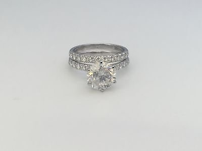 CERTIFIED COLORLESS DIAMOND BAND SET RING 4 CT SI1 D 18K WHITE GOLD SIDE STONES
