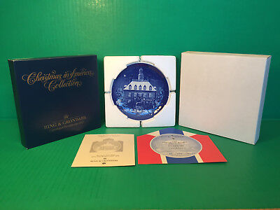 1986 B&G Bing&Grondahl CHRISTMAS IN AMERICA Plate First Edition Mint In Box COA