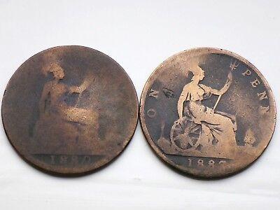 RARE 1880, 1887 Queen Victoria ONE PENNY   Coins