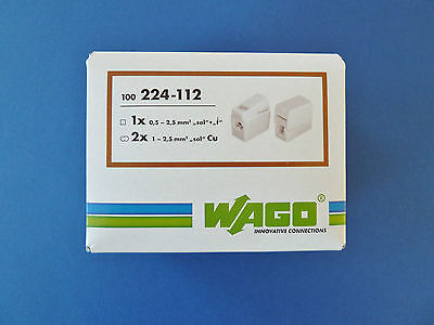100x WAGO Leuchtenklemmen 2x1-2,5qmm  Typ 224-112