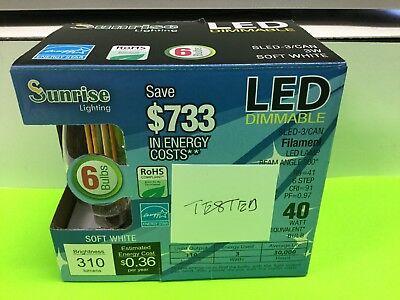 Sunrise LED Filament Light Bulb Lamp Uplight, 6 Bulbs, 3w=40w Mini Screw In Base ()