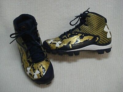 Youth Under Armour Deception mid baseball cleats spikes size 6Y 6 y blue gold