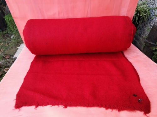 """ANTIQUE OLD HOMESPUN FRIEZE FABRIC ROLL RED MORE 10YARDS WOOL SHAIAK"""" EARLY 20th"""