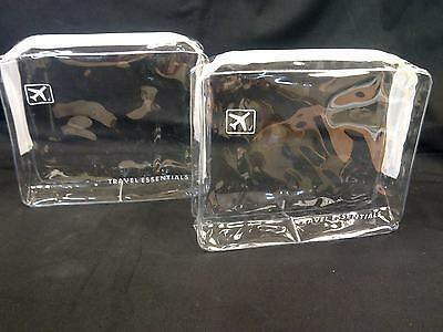 2 x HOLIDAY TRAVEL TOILETRIES BAGS - Clear Plastic Airline Airport Bag 17x14x5cm