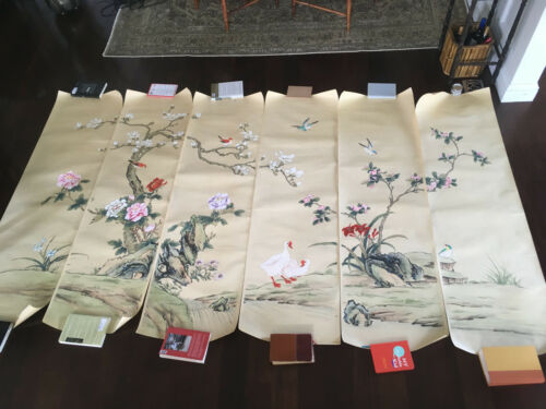 Rare Antique Chinese Export Hand-Painted Chinoiserie Wallpaper Six Panels