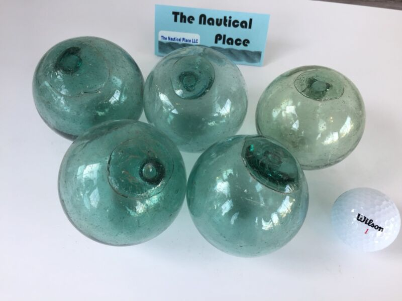 "(5) x 3"" Japanese Glass Fishing Floats ~ No Netting ~ Authentic Old Vintage"