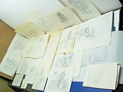 💕Vintage Lot Box of Shary B. Akers HORSE SKETCHES DRAWINGS No.1 Lot of 20💕
