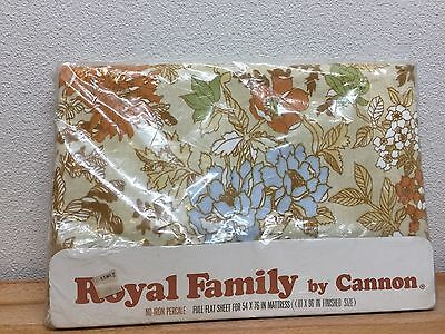 Vintage Cannon Royal Family Full Flat Sheet Fabric Floral Percale Brown Blue NOS