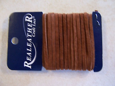 """Real Leather Medium Brown Suede MADE IN USA  Craft Lace 1/8"""" X 8 YDS- (24 FT )"""