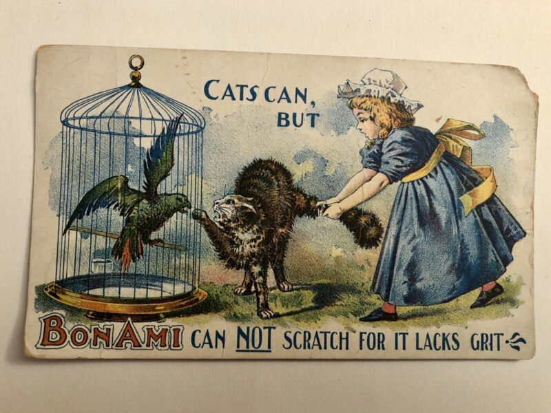 Cat Goes for Parrot, Bon Ami Soaps, Childs & Childs Victorian Trade Card