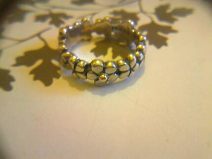 PANDORA * Silver and Gold Flower Band Ring * Size 52 or Size 56