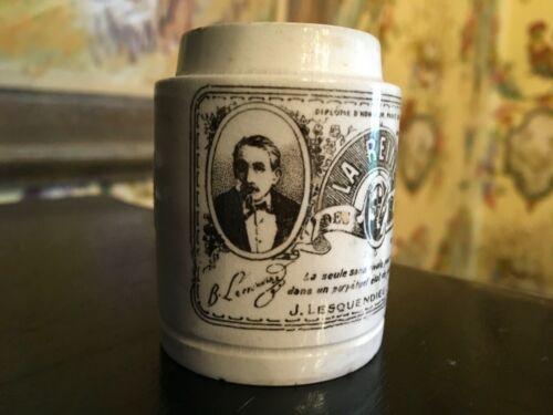 French Antique Tiny Ointment Pot Transferware Victorian La Reine Paris