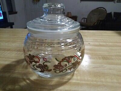 Vintage Clear Glass Handpainted Christmas Gingerbread Candy Jar is Mint