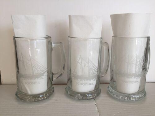 3 VTG Glass Stein Beer Mug Drink Ship Maritime Etched Nautical Schooner Sailboat