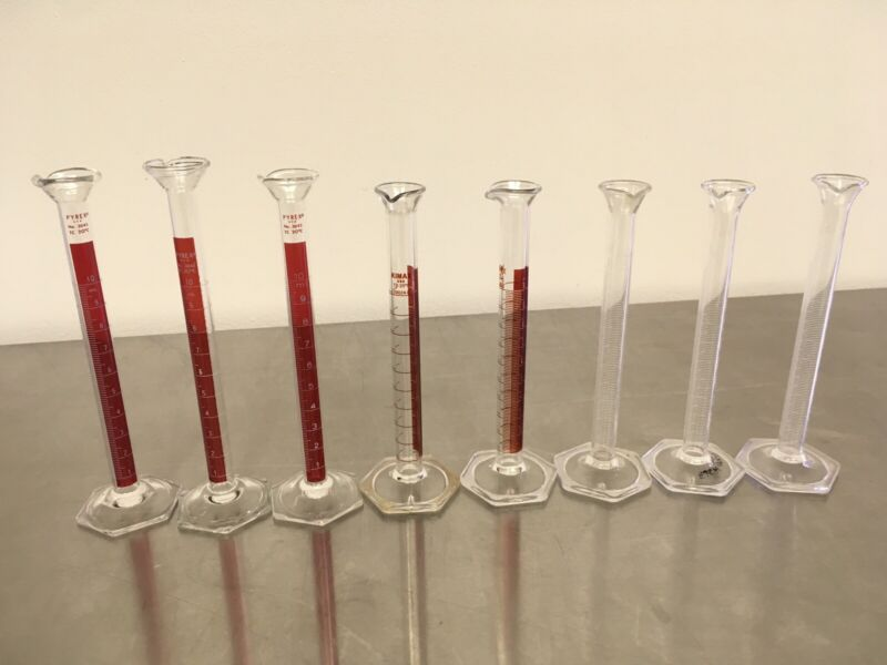 Lot of 8 Glass 10 mL Graduated Cylinders Pyrex Kimax Excellent