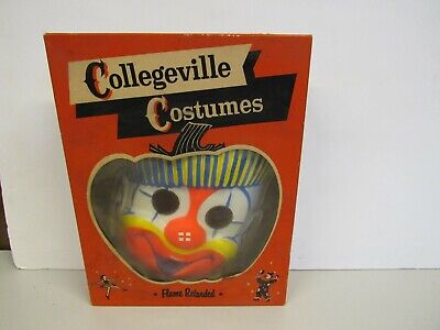 Vintage Halloween Collegeville Clown Mask with Box