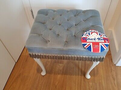 Vintage Blue And White Pleated Dressing Stool By Richard Henry Furnishings Ltd