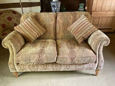 PARKER KNOLL BURGHLEY 2 SEATER SOFA IN BASLOW MEDALLION NOT STRIPE GOLD FABRIC