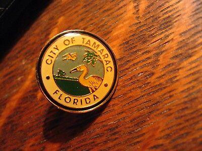 Tamarac FL Lapel Pin - American Florida USA South City Bird Logo Round Hat Pin
