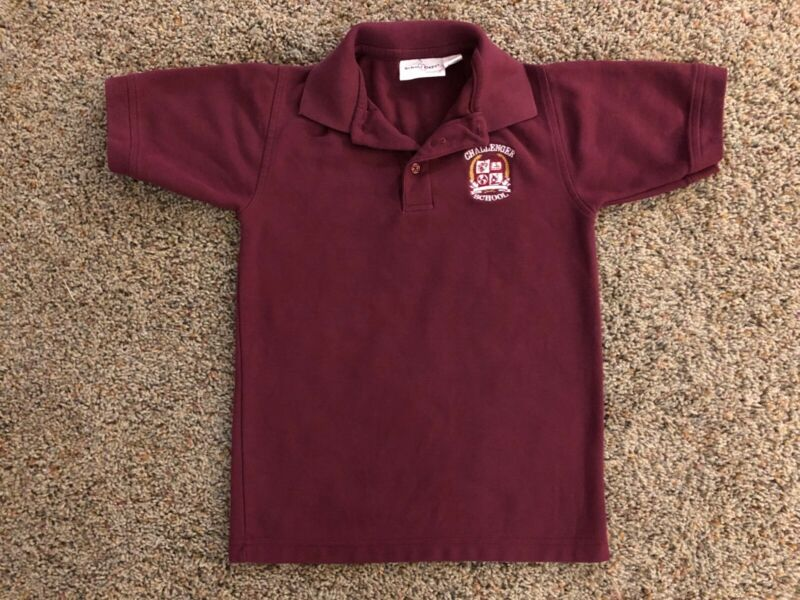 Challenger School Short Sleeve Burgundy Polo Shirt Size M