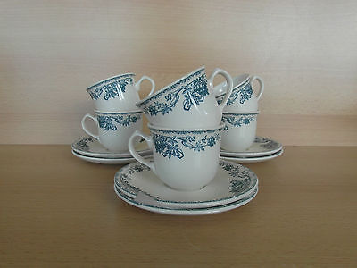 6 tasses à moka + sous tasses ROYAL BOCH Sorbier bleu