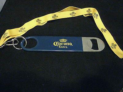 CORONA/CORONA LIGHT CERVEZA 1 METAL BEER BOTTLE WRENCH BAR OPENER WITH LANYARD