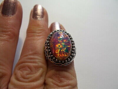 VINTAGE HARLEQUIN FIRE OPAL ADJUSTABLE RING  LARGE SETTING FITS SIZE 8 AND UP Adjustable Ring Setting