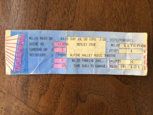 MOTLEY CRUE concert ticket Alpine Valley 1990 WI