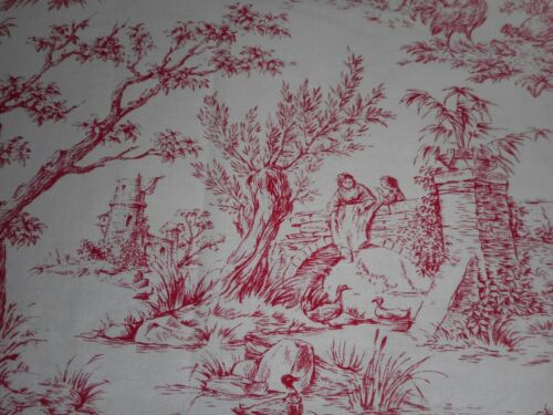Vintage French Pastoral Farm Life Toile Cotton Fabric  #2~ Red White ~