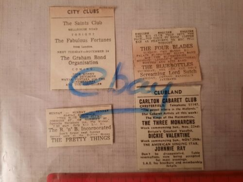 1964 The Pretty Things Alexis Korner Blues SHEFFIELD BLUE MOON CLUB Orig advert