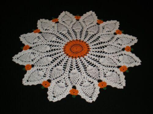 New Handmade Crocheted Doily Fall Halloween Pumpkins