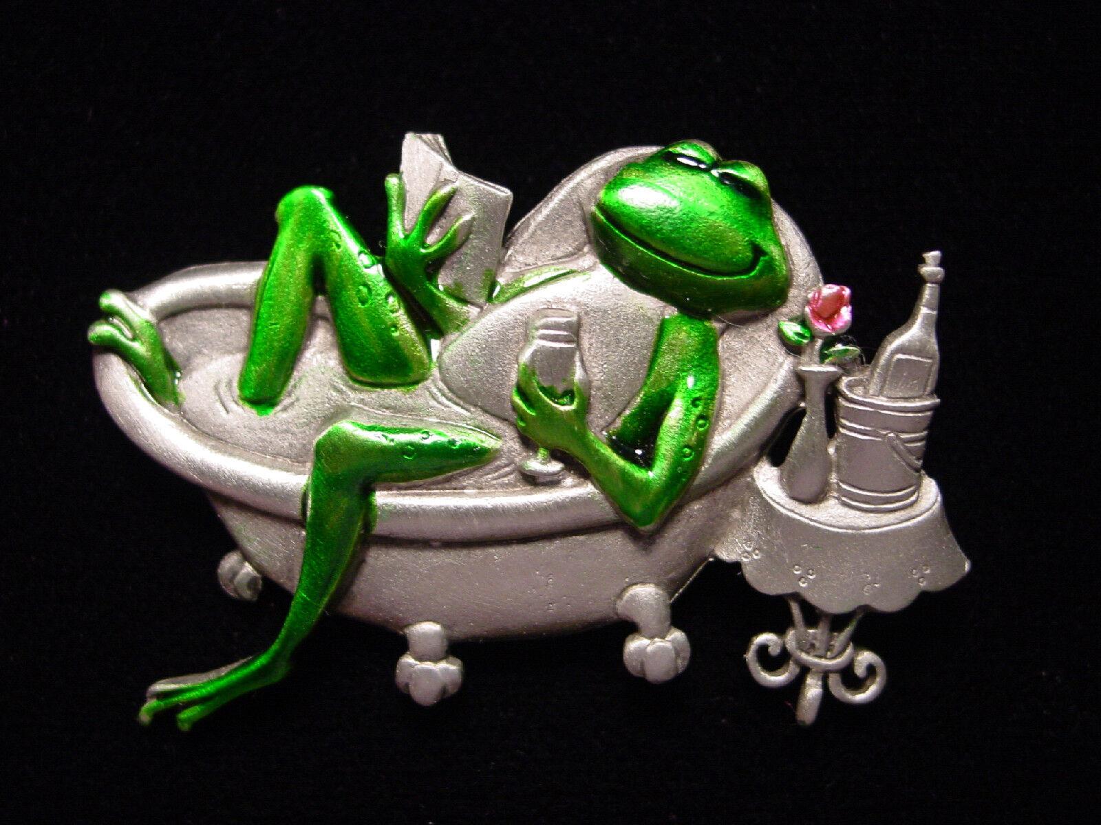 jj silver pewter diva frog in bathtub