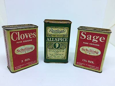 Vintage 2 Tins Schilling Spice Sage Cloves 1 Tin Rawleighs Allspice