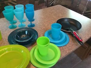 Camping kitchen dishes