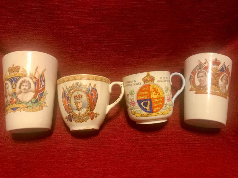 VINTAGE LOT OF 4 ENGLAND ROYALTY CUPS EDWARD VII, GEORGE VI NICE!!